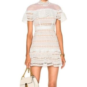 Self-portrait white Yoke mini dress